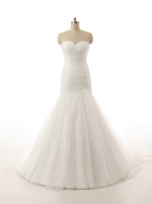 Elegant Simple White Sweetheart Bridal Gown  New Arrival Sexy Mermaid Long Wedding Dress