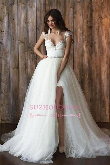 Crystals Overskirt Tulle V-neck Detachable Bridal Dresses Cap Sleeve Belt  Wedding Dresses