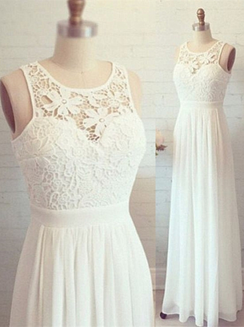 Lovely Lace Long Evening Gown Chiffon Floor Length  Prom Dresses