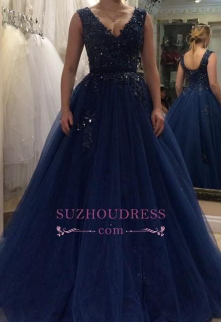 Floor Length Applique  Plus Size Prom Dress Tulle A-line V-neck Beading Evening Dress BA5493