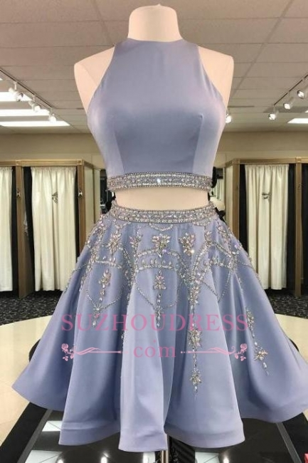 Crystal A-line Gorgeous Sleeveless Two-Pieces Short Homecoming Dress