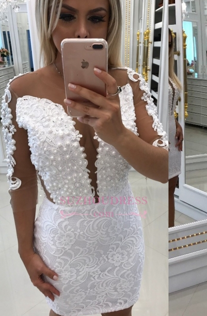 Short White Homecoming Dresses  | Long-Sleeve Party Dresses