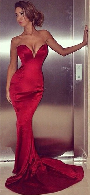 Sexy Sweetheart Red Mermaid Long Evening Dresses Formal Popular Fitted Zipper Plus Size Dresses for Women BA5382