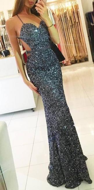 Sparkling Grey Sequins Prom Dresses  Sexy Criss Cross Formal Evening Dress