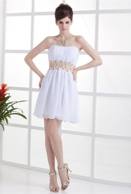White Cocktail Dresses  Strapless Sleeveless Gold Beading Sash Short Chiffon Zipper Homecoming Gowns With Sequins