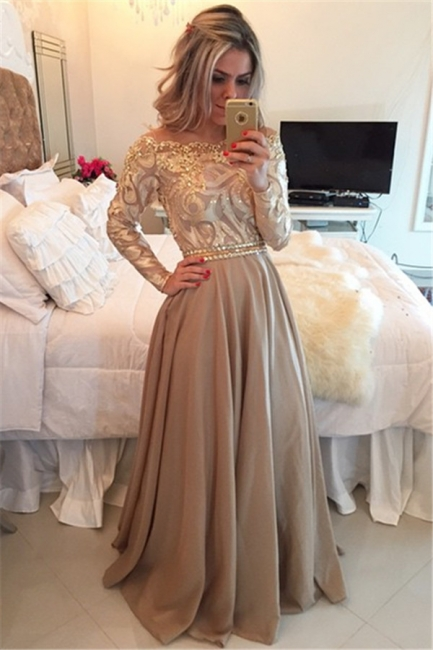 Long Sleeve Champagne Gold Prom Dresses   Appliques Sheer Back Evening Gown BMT