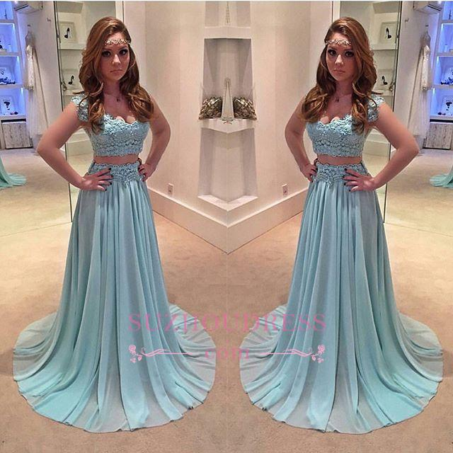 Lace Chiffon Sweep Train Evening Gowns Newest Two Piece A-line Prom Dress