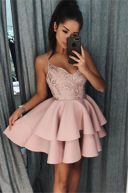 Pink Spaghetti Straps Short Homecoming Dresses | Tiered Appliques  Hoco Dresses