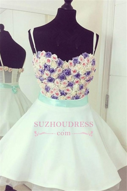 Mini Lovely Flowers Spaghetti Straps Colorful  Homecoming Dresses