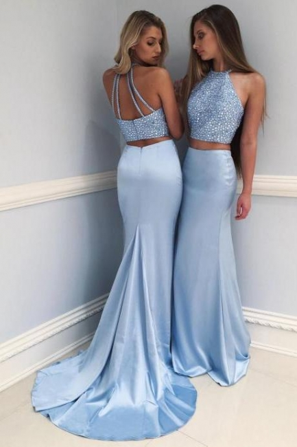 Gorgeous Blue Mermaid Two Pieces Prom Dresses  Crystal Court Train Evening Gowns SK0082