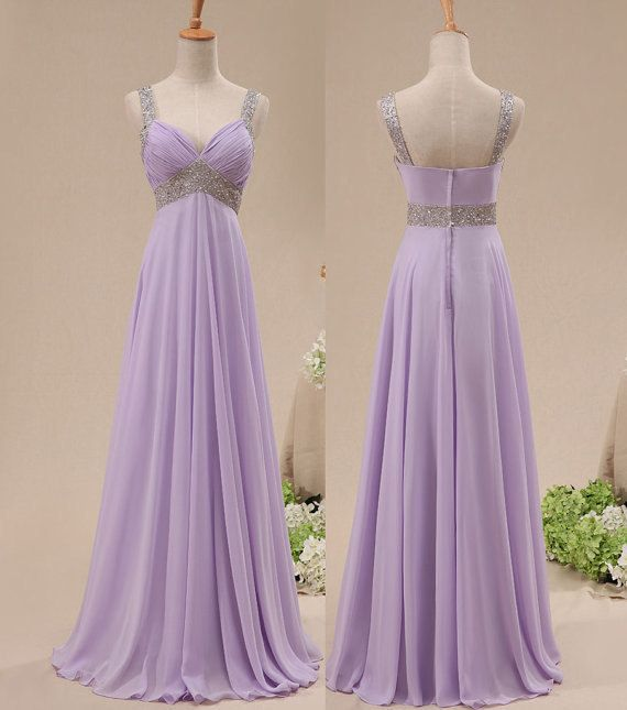 Crystal Lavender Chiffon  Popular Long Prom Dress With Beadings