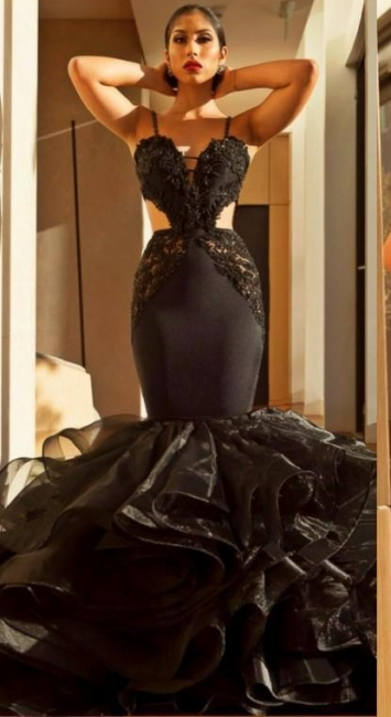 Spaghetti Straps Mermaid Black Prom Dresses | Ruffle Open Back Sexy Evening Dress