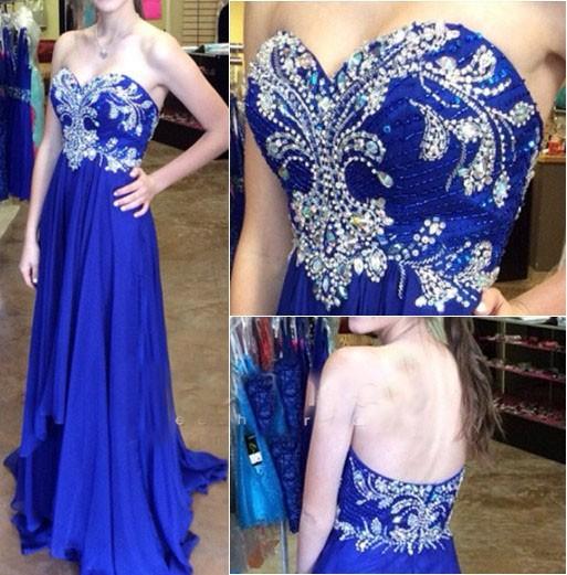 Elegant Royal Blue Sweetheart Long Prom Dress Crystal Beading Formal Occasion Dress