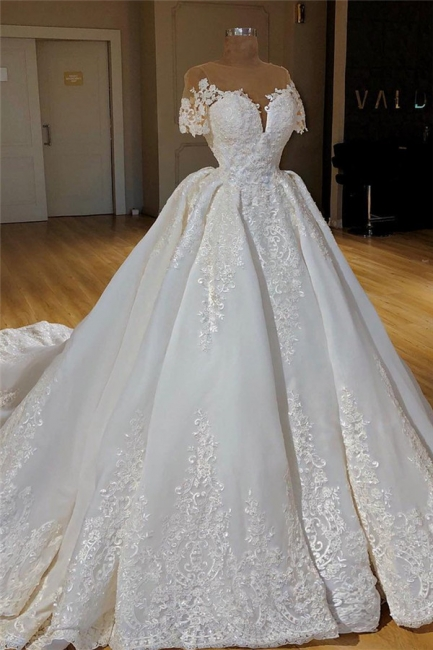 Stylish Princess Ball Dresses Wedding Dresses with Long Train Short Sleeve Lace Appliques Bridal Gowns Online