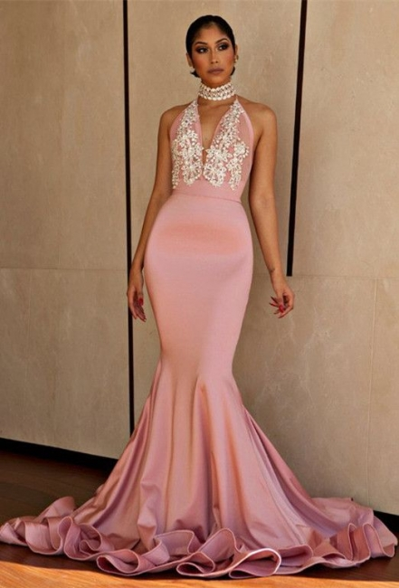 Halter V-neck Mermaid Beading Prom Dress  | Sexy Backless Pink Evening Dress with Long Train