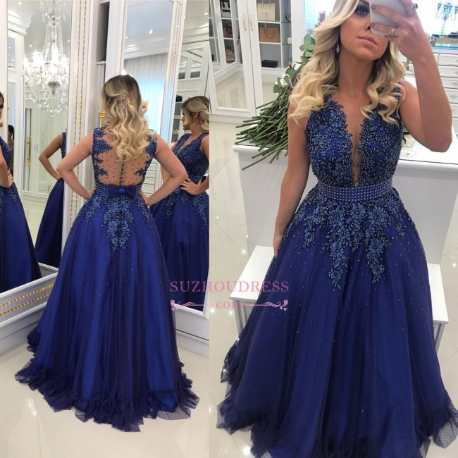 Glamorous A-Line Lace Evening Dresses | V-Neck Sleeveless Prom Dresses with Buttons