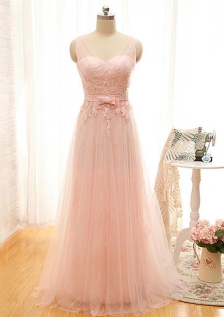 Cute Pink Tulle Long Prom Dress Formal Bowknot V-Neck Floor Length Formal Occasion Dresses