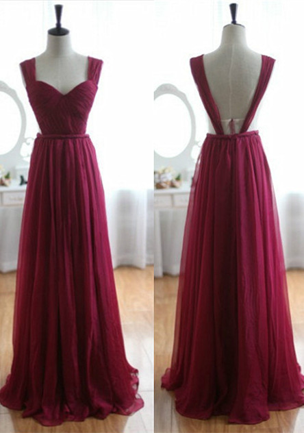 Burgundy Prom Dresses Straps Sleeveless A Line Floor Length Backless Evening Gowns