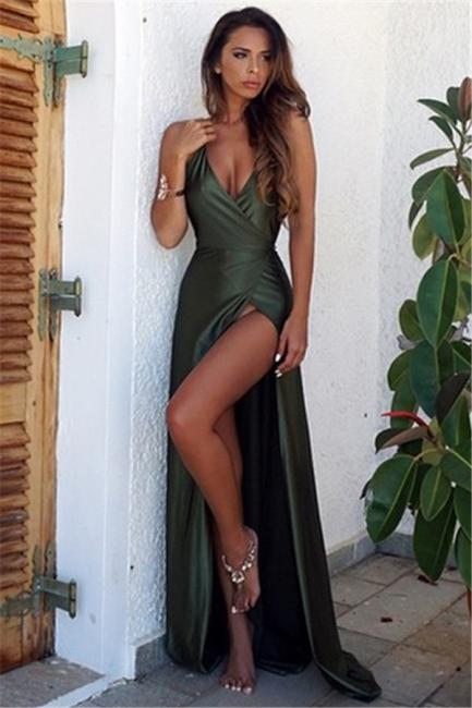 Straps Halter Sexy V-neck Dark Green Evening Dress Side Slit Backless  Formal Dress  FB0019