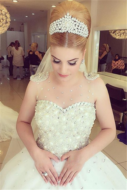 Princess Pure White Wedding Dress  with Crystals Puffy Skirt Latest Bridal Dress