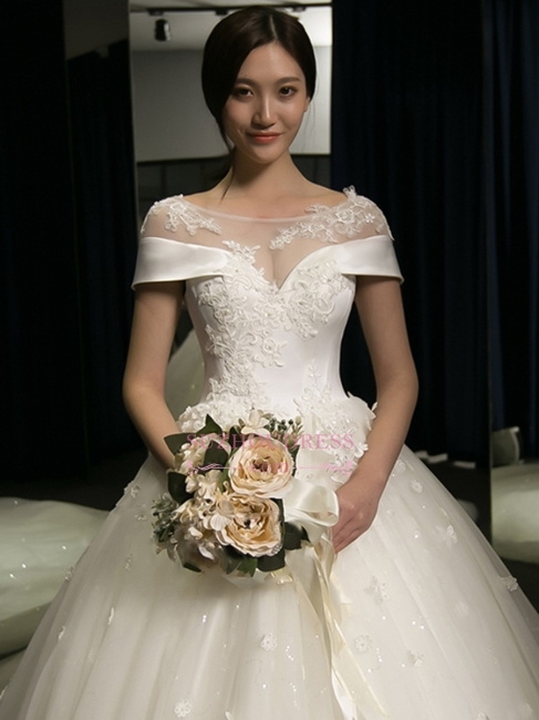 Puffy Lace-Applique Wedding Dresses  | Scoop Cap-Sleeves Exquisite Gowns