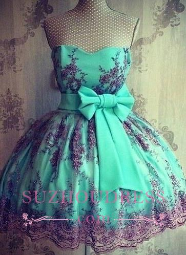 Bowknot Sash Appliques  Party Gowns Sweetheart Lovely Lace Short Homecoming Dresses