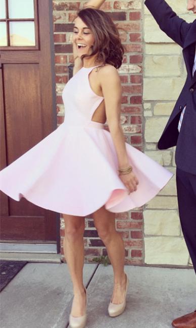 A-Line Halter Pink Mini Homecoming Dresses Cute Open Back Short Summer Dress BA3597