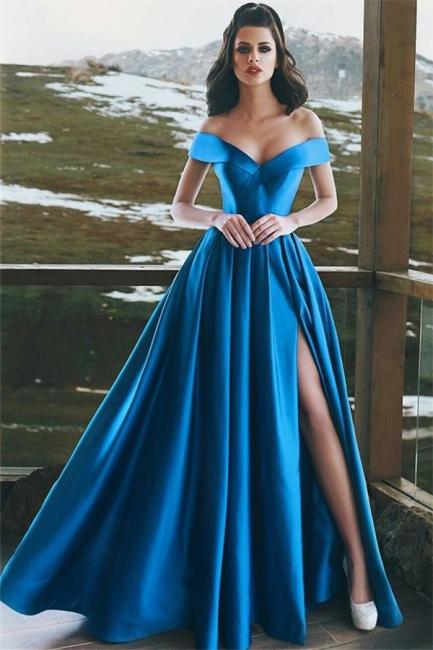Off-The-Shoulder Sexy Split Prom Dresses  | Elegant Blue  Formal Evening Dress