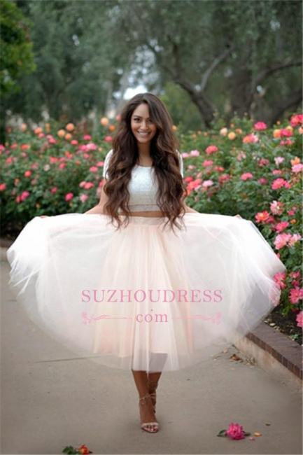 A-line Two Pieces Tulle Short Sleeves Lace  Homecoming Dress