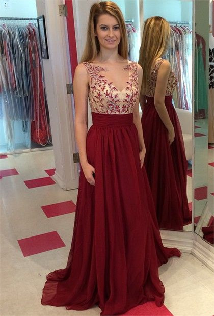 Burgundy Chiffon Sleeveless Sheer  Evening Dresses Applique Satin Backless Prom Gowns