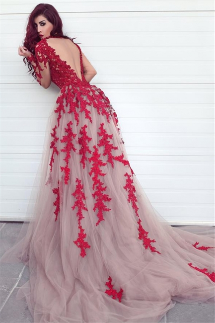 Long Sleeve Lace Appliques Red Evening Dresses Open Back Sexy Prom Dress  Cheap