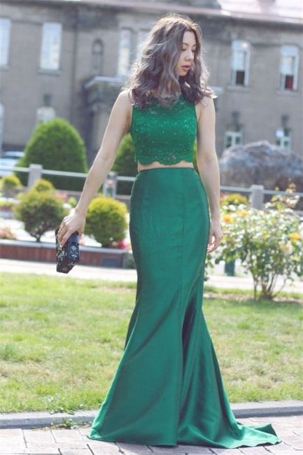 Green Two Piece Evening Dresses Long  Mermaid Stretch Satin Lace Prom Dress