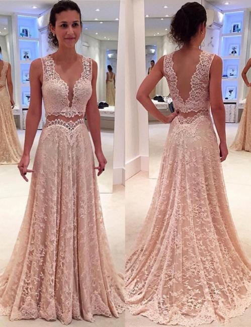 V-neck Full Lace Evening Gowns Sleeveless Elegant Long Formal Prom Dress