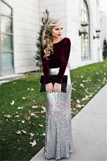 Burgundy Velvet Long Sleeves Prom Dress Winter Silver Sequined  Evening Dresses BA3601