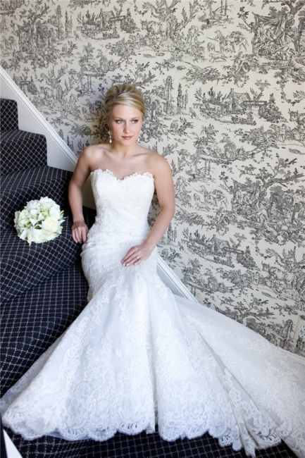Strapless Mermaid Wedding Dresses Full Lace Popular Bride Dress without Sleeve