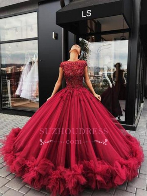 Burgundy Short Sleeves Ball Evening Dresses | Luxury Tulle Appliques Prom Dresses
