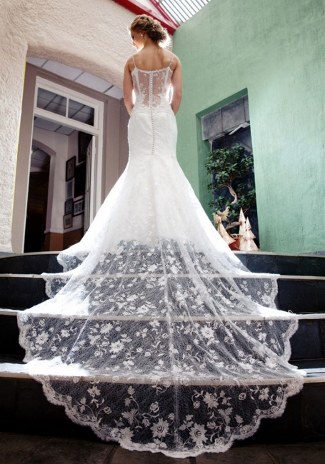 Vintage Spaghetti Strap Mermaid Wedding Dress New Arrival Lace Court Train Bridal Gown