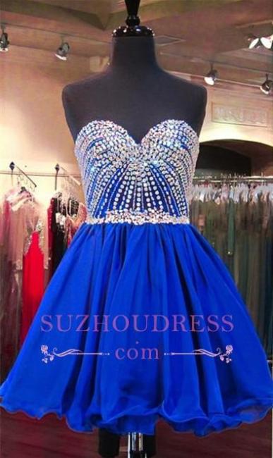Lace-Up Crystal Sweetheart Blue Mini Homecoming Dresses BA3829