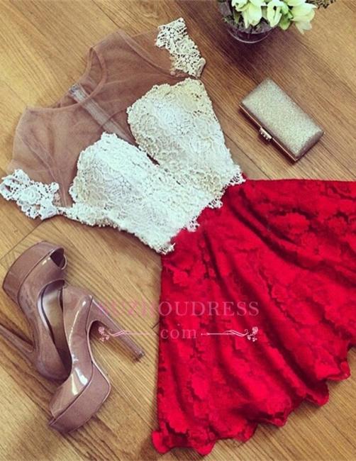 Cute Illusion Short Lace Short-Sleeve Homecoming Dress