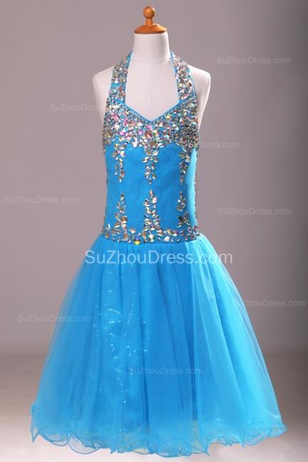Blue Knee-Length Flower Girl Dresses colorful sequins rhinestone crystal halter backless Pageant Dress