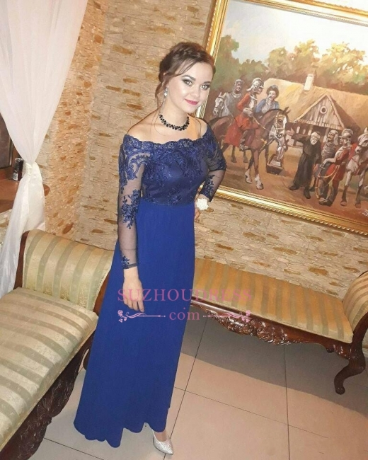 Royal Blue Off the Shoulder Sheath Prom Dresses  | Long Sleeves Appliques Evening Gowns