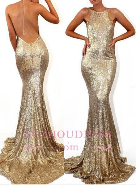 Sleeveless Halter  Formal Dress Mermaid Sweep-Train Stunning Sequined Prom Dress