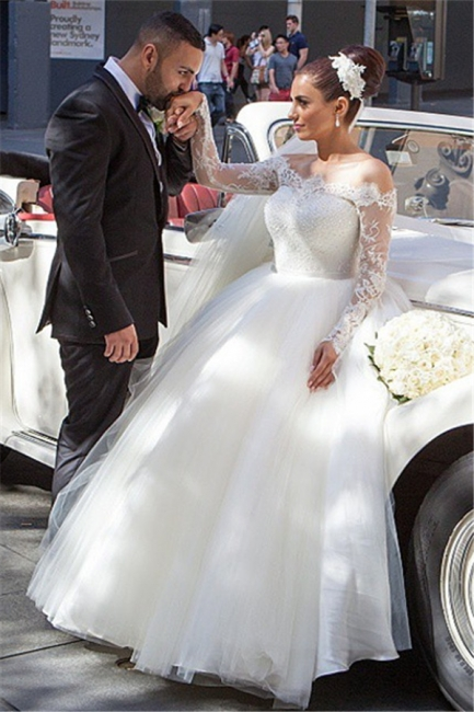 Long Sleeve Lace Princess Wedding Dress Puffy Tulle  Bride Dresses