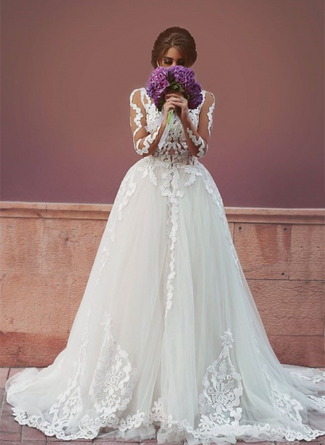 Sheer Long Sleeve Romantic Wedding Dress with Lace Appliques Backless Long Train Bridal Gowns
