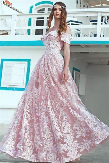 Elegant Pink Off Shoulder Evening Dresses  |  A-Line Lace Long Formal Dress