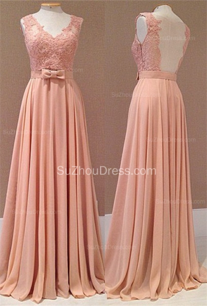 Popular Pink Chiffon Evening Dresses Backless Lace Appliques Sash Bowknot  Prom Dresse