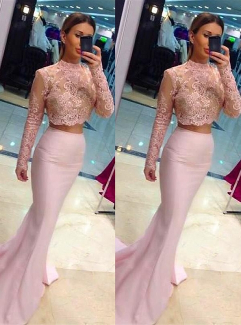 Mermaid High Collor Long Sleeve Evening Dress Two-Piece Lace Applique  Party Dresses BA0533