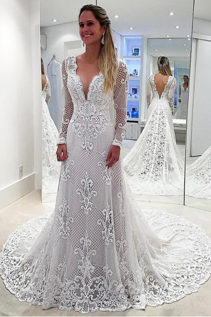 Affordable Sweep Train White Lace Wedding Dresses Long Sleeves Appliques Bridal Gowns Online