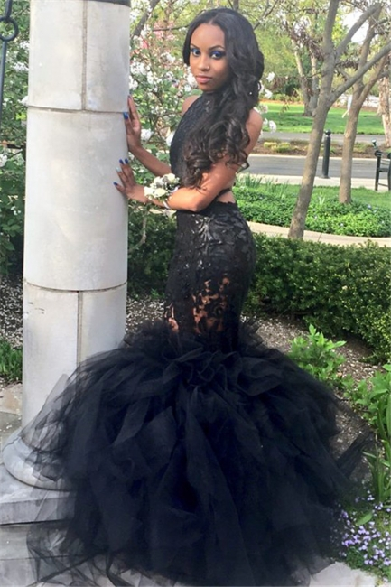Black Halter Open Back Prom Dress  Mermaid Lace Tulle Sexy  Evening Dress FB0011