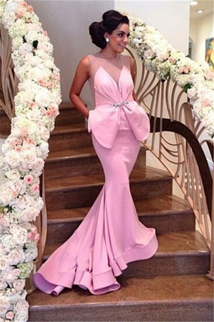 Pink Prom Dress Backless Mermaid Long Evening Dress